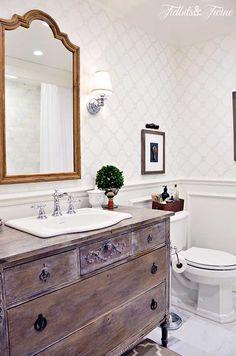 DIY Repurposed Dresser Into Gorgeous Vintage Bath Vanity