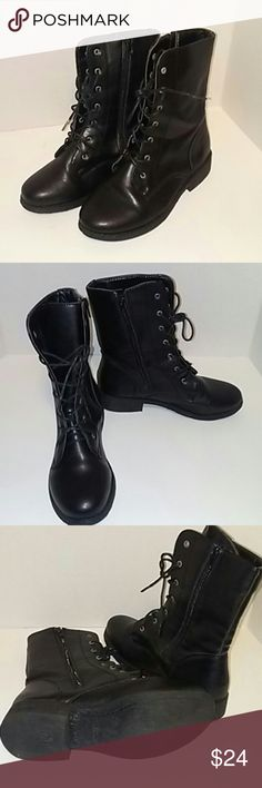 Bamboo boots Black leather boots. Tie up the front and zip up the side. Measures from top to bottom 9 1/2 inches. Charlotte Russe Shoes Lace Up Boots