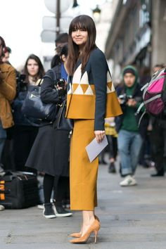 Miroslava Duma in a look from Delpozo's fall 2014 collection. Photo: Imaxtree
