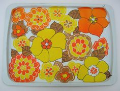 Large Retro Flower Power Honeyflowers Enamel Serving Tray Yellow and Orange