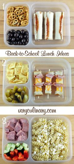 Back-to-School Lunch Ideas #lunchbox #backtoschool #kidslunch Cut up cubes of bread, spread some mayo and/or mustard on one side, thread on skewers with deli ham and colby jack cheese. Serve with crackers and dill pickles.