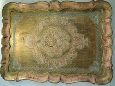 """RESERVED for the FRENCH FARM...........Vintage Large, 19"""" x 15"""",  Florentine Tray, Made it Italy, Hand Painted, Pink and Gold, Wood"""