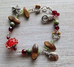 Murano Red Lampart Bracelet Nautical Starfish Wood Peridot Gemstone and Sterling Silver Garnet Bracelet, Garnet Jewelry, Red Jewelry, Garnet Gemstone, Beach Jewelry, Gemstone Jewelry, Jewelry Bracelets, Jewellery, Gifts For Art Lovers