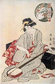 三味線の芸者。伝統的な日本彫刻浮世絵 — ストック画像 #27918369