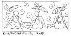 whimsical gals on the beach...deanne fitzpatrick rug hooking   Blue Heron Rug Hooking Studio Patterns
