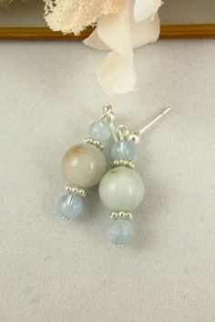 Aquamarine Sterling Silver Earrings Handmade Dangle Post Earrings by PMOriginals on Etsy