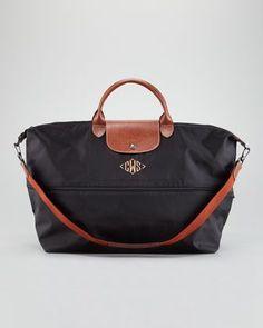 Longchamp Le Pliage Monogrammed Expandable Travel Bag, Black - Neiman Marcus