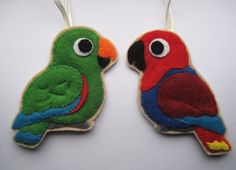 Eclectus Parrot male & female Felt Bird by FreaksOnCanvas on Etsy, €25.00. Need a male for Bailey and a cockatiel for Lori.