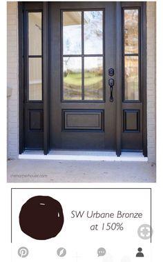 Dark Front Door, Double Front Entry Doors, Double Doors Exterior, Front Doors With Windows, Porch Doors, House Front Door, Glass Front Door, Front Porch, Entrance Doors