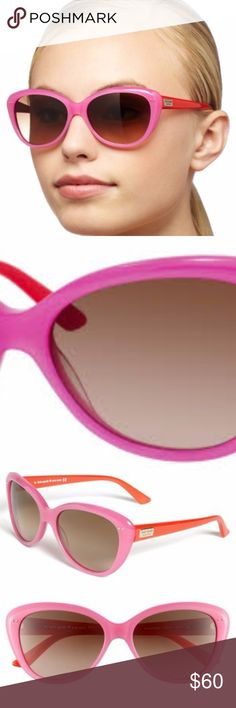 Kate Spade NWOT Angelique Sunglasses Pink/Orange Never worn, Angeligue sunglasses with case and cleaning cloth. Plastic pink frames with orang-ish contrasting arms. Rounded cat-eye shape. 100% UV protection. Really cute - just didn't work on me. kate spade Accessories Sunglasses