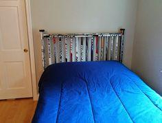 hockey stick headboard More Boys Hockey Bedroom, Hockey Room, Hockey Decor, Twin Headboard, Bedroom Themes, Bedroom Ideas, New Room, Hockey Sticks, Boy Rooms