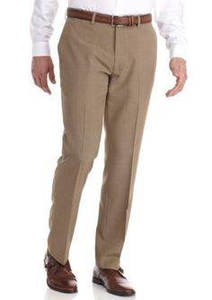 Louis Raphael Field Tailored Fit Cross Hatch Flat Front Pants