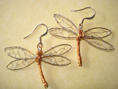 Copper Dragonfly Earrings by joelnapolitano on Etsy, $40.00