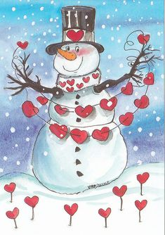 Snowman love for the Christmas season!! Celebrating Jesus's Birthday with love!! Aline ♥