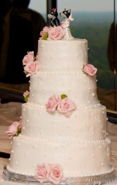 Four Tier Pink Wedding Cake With Roses And Wolf Groom Bride