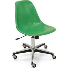 Fiberglass Rolling Side Chair
