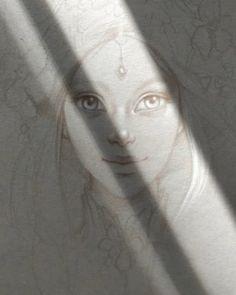 """360 mentions J'aime, 37 commentaires - Art of Sandrine Gestin (@sandrinegestin) sur Instagram: """"Jeux de lumière par la fenêtre de mon atelier sur un dessin en cours ;)) Light effects through the…"""" Female, Artist, Fictional Characters, Instagram, Atelier, Artists, Fantasy Characters"""