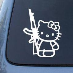 Amazon.com: Hello Kitty AK47 - Revolution - Car, Truck, Notebook, White Vinyl Decal Sticker: Everything Else