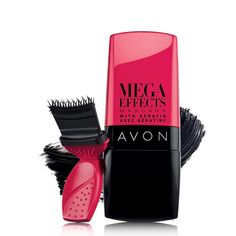 Mega Effects Mascara with Keratin- https://www.avon.com/find-your-flutter?rep=cbrenda007    MEGA EFFECTS WITH KERATIN MASCARA .317 OZ. NET WT. AVAILABLE IN 2 SHADES THE BRUSH: Avon's 1st-ever wonderbrush fits the natural shape of lashes, providing complete coverage in an instant. It lifts and  separates lashes. THE FORMULA: Lengthens and volumizes lashes for 24 hours. Clump, smudge and flake-proof—now with Keratin! -  http://www.youravon.com/cbrenda007