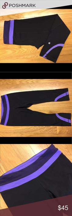 Lululemon Run Inspire Crops. Blk/Power Purple. 6. Lululemon Run Inspire Crops. Black / Power Purple, sz 6. Luxtreme fabric, which is light, moisture wicking  & 2way stretch. Chafe resistant flat seams. Wide waistband has a zipper stash pocket in the back, and 2 gel pockets in the front. It also has a continuous drawcord if you need to cinch the waist in. Mesh panels on the back of the legs, behind the knees. Reflective logo on left leg. These are in GUC. Light pilling around the gusset…