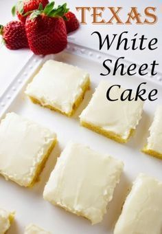 This easy buttermilk Texas sheet cake is one of the best cake recipes out there. In this post, I show you how to make a sheet cake with buttermilk, cinnamon, and vanilla flavors. And, the homemade frosting is out of this world and so easy to make. White Sheet Cakes, White Texas Sheet Cake, Köstliche Desserts, Dessert Recipes, Health Desserts, Sheet Cake Recipes, Almond Sheet Cake Recipe, How Sweet Eats, Gastronomia