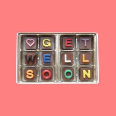 Get Well Soon Jelly Belly Chocolate Cube Letters by chocolatesays