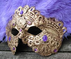 Venetian feather carnival mask in gold with by ladyinthetower, $110.00