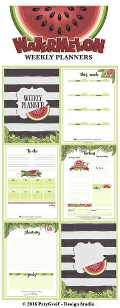 My new adventure: Planners =) Here are the 06 sheets of weekly refreshing watermelon planners. Arc Planner, Planner Inserts, Planner Ideas, Weekly Planner, Printable Planner, Planner Stickers, Free Printables, Day Runner, Planner Sheets