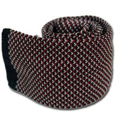 Black Knit Tie with Red Stripes