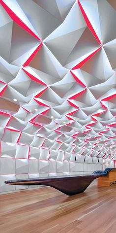 Salon Urbain in Montreal, Canada by Sid Lee Architecture and Aedifica. Beautiful ceiling installation, a skeletal construction of plane and color.