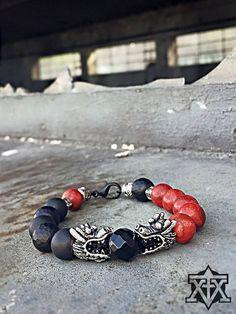 Black Red Dragons Bracelet by FXMX Empire Dragon Bracelet, Red Dragon, Dragons, Empire, Beaded Bracelets, Social Media, Men, Black, Jewelry