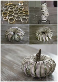 See how easy it is to create this rustic fall mason Jar lid pumpkin using canning lids, fabric tape, fishing line and a stick! See how easy it is to create this rustic fall Mason Jar lid pumpkin using canning lids, fabric tape, fishing line and a stick! Mason Jar Pumpkin, Fall Mason Jars, Rustic Mason Jars, Mason Jar Lids, Canning Lids, Canning Lid Pumpkin, Jar Lid Crafts, Mason Jar Crafts, Pumpkin Uses