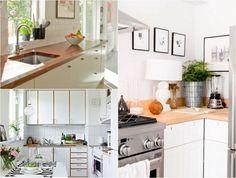 comptoirs de cuisine en bois modernes murs blancs fronts Espèces