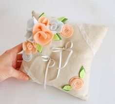 Pillow for wedding rings linen marriedfelt by federicacreazioni