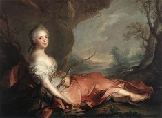 Title: Portrait of Maria Adelaide of France dressed as Diana, daughter of Louis XV, 1745 Artist: Jean-Marc Nattier Medium: Canvas Art Print - Giclee Bourbon, Jean Antoine Watteau, French History, Art History, European History, European Style, Diane, Poster Prints, Art Prints