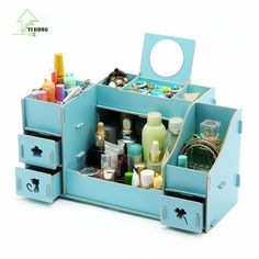 YIHONG Creative Diy Wooden Cosmetic Storage box Multi-function Cardboard Office Desktop Storage Boxes Makeup Organizer Box 1007c