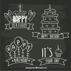 Blackboard birthday badges Source: Freepik License: Free for commercial use with. Chalkboard Doodles, Blackboard Art, Chalkboard Lettering, Chalkboard Designs, Birthday Doodle, Birthday Badge, Art Birthday, Birthday Ideas, Happy Birthday Signs