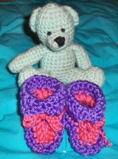 Bev's Very EASY Newborn Booties ; It is quick and easy and good for beginners! You could make several pairs in one evening. Booties are made in one piece and folded in half. You can make them all different sizes by varying hook size or number of stitches and rows.