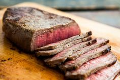 Pan-fried London Broil Steak ~ Top round steak, seasoned with dry mustard, salt, pepper, and rubbed with butter, pan fried to brown, then finished in the oven if necessary with thicker cuts. ~ SimplyRecipes.com