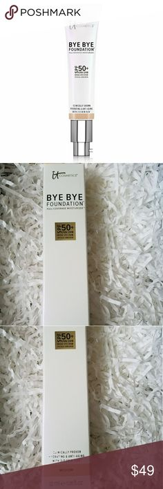 🆕BNIB $65 It Cos BYE BYE FOUNDATION🆕 SEALED/GUARANTEED AUTHENTIC Medium 1 tube lasts so long! Only 1 I use!  Bye Bye Foundation Full Coverage Moisturizer with 3D Skin Flex Technology  Your anti-aging skin care, plus full coverage, mineral-based UVA/UVB SPF 50 sunscreen - all-in-1 hydrating step!  Clinically shown to last all day, increase skin hydration by 79% in 10 minutes, & show visible improvement in skin smoothness by 85% in just 10 days.  It's so good for your skin that you can even…