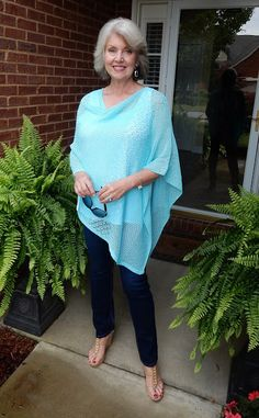 @susanstreet from Fifty Not Frumpy in her J.Jill mixed-stitch pointelle poncho.