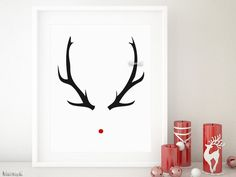10% off orders over $15 using code HOLIDAY - black friday sale #blackfriday Home decor, Christmas decor, gift idea, holiday decor, hostess gift Rudolph print featuring black antlers and red nose