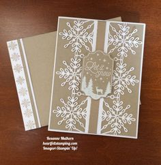 15 Pals Paper Crafting Picks of the Week (Mary Fish, Stampin' Pretty The Art of Simple & Pretty Cards) Diy Christmas Snowflakes, Christmas Cards 2017, Snowflake Cards, Homemade Christmas Cards, Noel Christmas, Xmas Cards, Homemade Cards, Holiday Cards, Stampin Up Weihnachten
