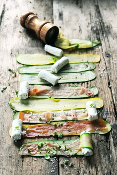 Courgette with ham and goats cheese.