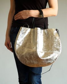 Silver Leather Hobo Bag