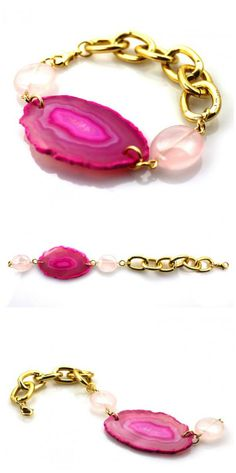 A gorgeous pink agate slice surrounded by two rose quartz ovals and chunky gold link chain. The perfect bracelet to wear to the office be it casual or formal that can double as a beautiful statement piece perfect for a weekend getaway - Handmade Jewelry Bracelet made in the USA by Manic Trout on aftcra