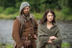 Duncan Lacroix as Murtagh and Caitriona Balfe as Claire Fraser (Sony Pictures Television/Starz)