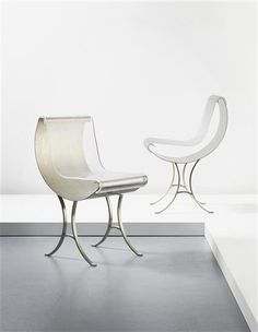 Maria Pergay; Stainless Steel and Plexiglass 'Acier' Chairs, c1969.
