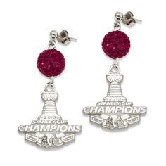 NHL Chicago Blackhawks 2013 Stanley Cup Champions Sterling Silver Ovation Earrings - The price dropped 5% #frugal #savingmoney