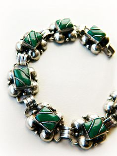 Sterling Silver & Green Bracelet / Vintage  Mexico by PuraPlata